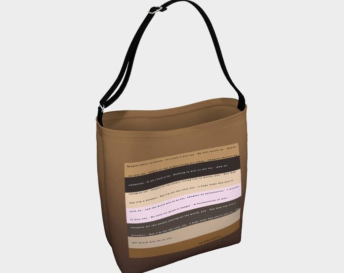 Imagine Tote Bag, Social Justice, Racial Justice, Book Tote, Grocery Bag, Tote Bag, Printed Tote Bag inside and out, Customized Strap