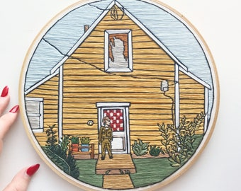 Yellow House Hand Embroidery Wall Art 9""