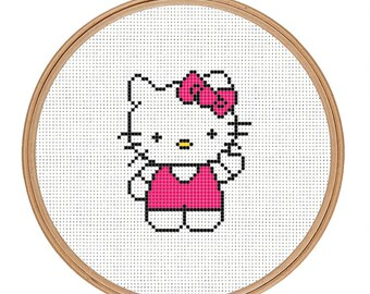 Hello Kitty cross stitch pattern | Instant download | Easy beginner cross stitch pattern pdf