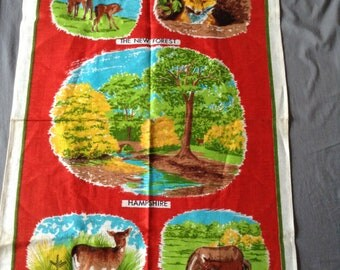 vintage New Forest Pony Irish Linen tea towel