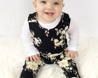 Baby Harem Romper |  Baby Romper | Floral Baby Romper | Fall Romper | Baby Girl Clothes |  Baby Shower Gift |  Coming Home Outfit |