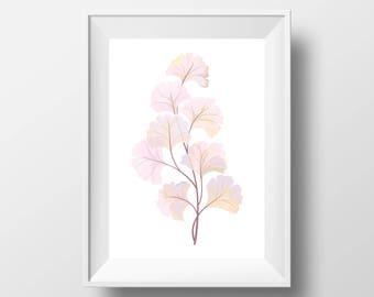 "Simple Pink Watercolor Leaves PRINTABLE Art | Peach Leaf Design Decor Printable 11x14"" 8x10"" | Modern Minimal Poster"