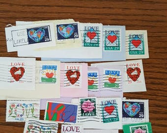20 Love themed used vintage US postage stamps for crafting scrapbooking or collecting