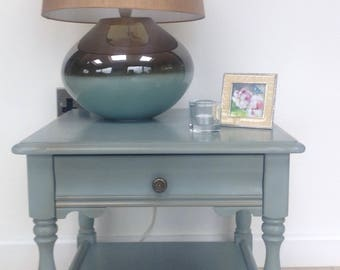 Hand painted side table / lamp table in blue-grey