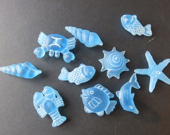 "Ten Pretty ""Seashells and Crustaceans"" - Blue Frosted - Seaside"