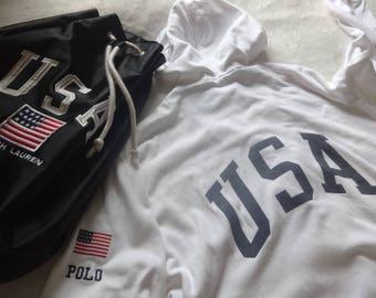Vintage M-L Polo Sport 92 stadium team usa full zip hooded sweatshirt