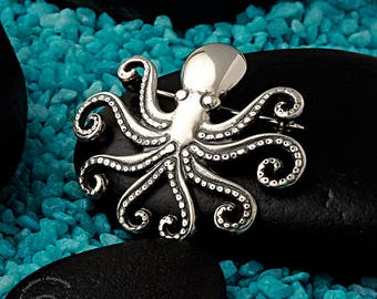 Silver Octopus Brooch, Greek Octopus, Ocean Brooch, Mediterranean
