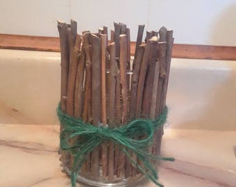 Rustic twig candleholder