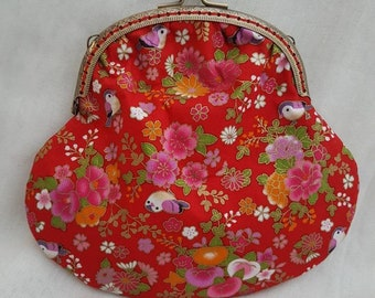 Red Japanese Little Bird Kiss Clasp Purse/Large Coin Purse/Small Make Up Bag/Special Occasions Purse