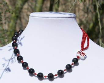 Necklace with Lampwork Focal Bead, Red, White & Black OOAK