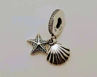 Pandora Tropical Starfish/Seashell CZ Dangle Charm/New/Fully Stamped