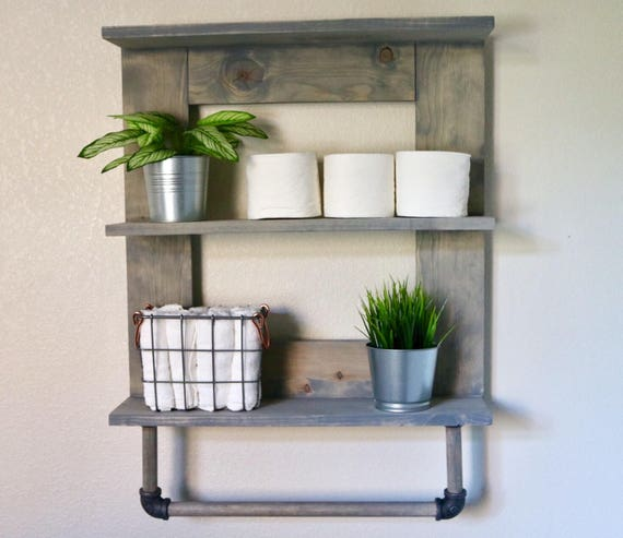 Towel rack wooden bathroom shelf bathroom organizer wooden