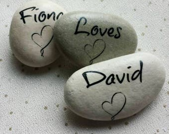 Set of 3 Personlised Polished Pebbles, personalised stones, greetings pebbles, any text, any graphic, any message, keepsake pebbles