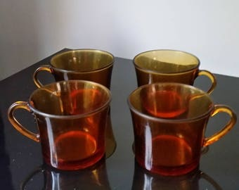Set of 4 cups coffee Lily Vermeil DURALEX - Vintage 80's - Made in France