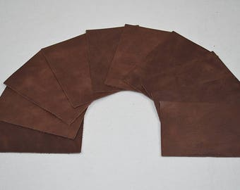 A set of 10 coupons from brown leather (9055016)