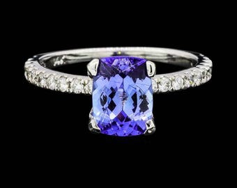 14kt White Gold Blue Tanzanite Radiant Cut Ring