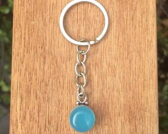 Little Chalcedony Keyring / Silver Blue Chalcedony Keychain / Blue Crystal Keyring / Blue Crystal Keychain / Round Gemstone Keyring