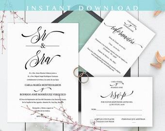 Invitaciones de Boda, Spanish wedding invitation,  En Español, Instant Download, Classico Moderno, Imprime en casa, PDF, Edit at home