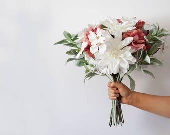White Mauve Pomegranate Maroon Silk Bridal Bouquet, Wedding Bouquet, Burgundy Bridal Bouquet, Wedding Flowers,