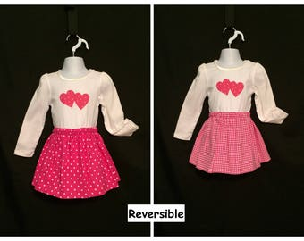 Toddler's Reversible Skirt Set,  Polka Dot Reversible Skirt, Hot Pink Reversible Skirt Set, Skirt Set Size 3-4T, Houndstooth Check Skirt Set