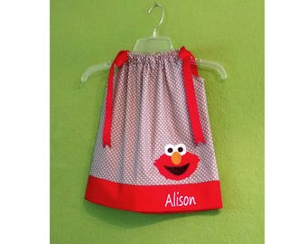 Elmo Pillowcase Dress // Elmo Outfit // Toddler Clothes // Infant Clothes //Monogrammed // Personalized // Grey with White Dots