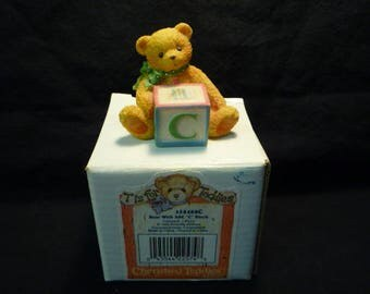 Cherished Teddies Bear with Letter C Block Mini Figurine 1995 Enesco 158488C. Approx 4cm High