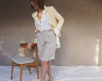 vintage David Lawrence muted yellow linen blend blazer, size 8