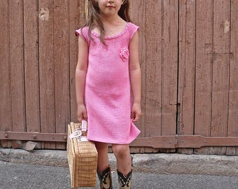 Pink cotton knit was child baby girl vintage retro