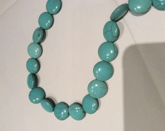 Flat and round 18 mm turquoise gemstone bead