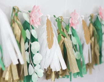 Floral and leaf garland, Boho Baby Shower Decor, Boho party decor, Flower garland, Leaf garland, Wedding garland, Engagement party decor