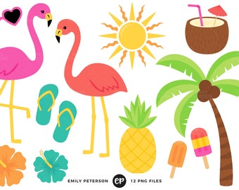 50% OFF SALE! Tropical Clip Art, Summer Clipart, Flamingo Clip Art - Commercial Use, Instant Download