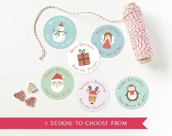 Christmas Gift Labels / Personalised Present Stickers / Festive Parcel Stickers / Xmas Stickers