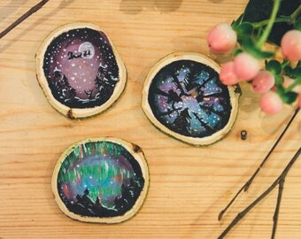 Hand painted | Night Sky | Wood Slice Christmas Decorations