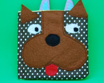 Dog Soft Book, Fabric Baby Book, busy book, Montessori Toy, play book, sensory toy, travel toy, educational toy (from 6 months old )