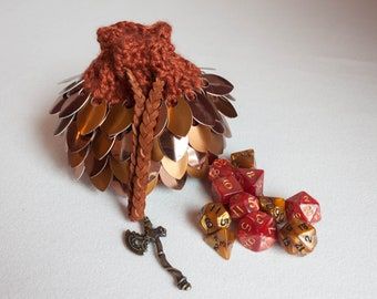 Dice Bag - Bronze and Copper Crochet Pouch - Scalemail D&D Dragon's Egg