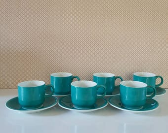 RETRO FINE CHINA Gempo Tea Cups and Saucers, Blue, Made in Japan, Set of 6