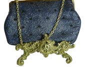 Vintage 1960s Evening Bag Navy and Silver Lam with Black Flock Polka Dots.