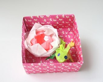 Water lily and Green Frog No. origami box 3