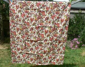 2.20 metres of Jacobean design medium weight linen bark cloth curtain fabric - brand new. Beautiful retro country house style.