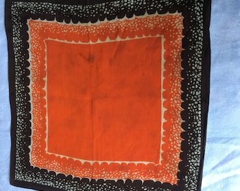 30s 40s vintage silk crepe lady's hankie. Vibrant orange and chocolate brown design. IMPERFECT.