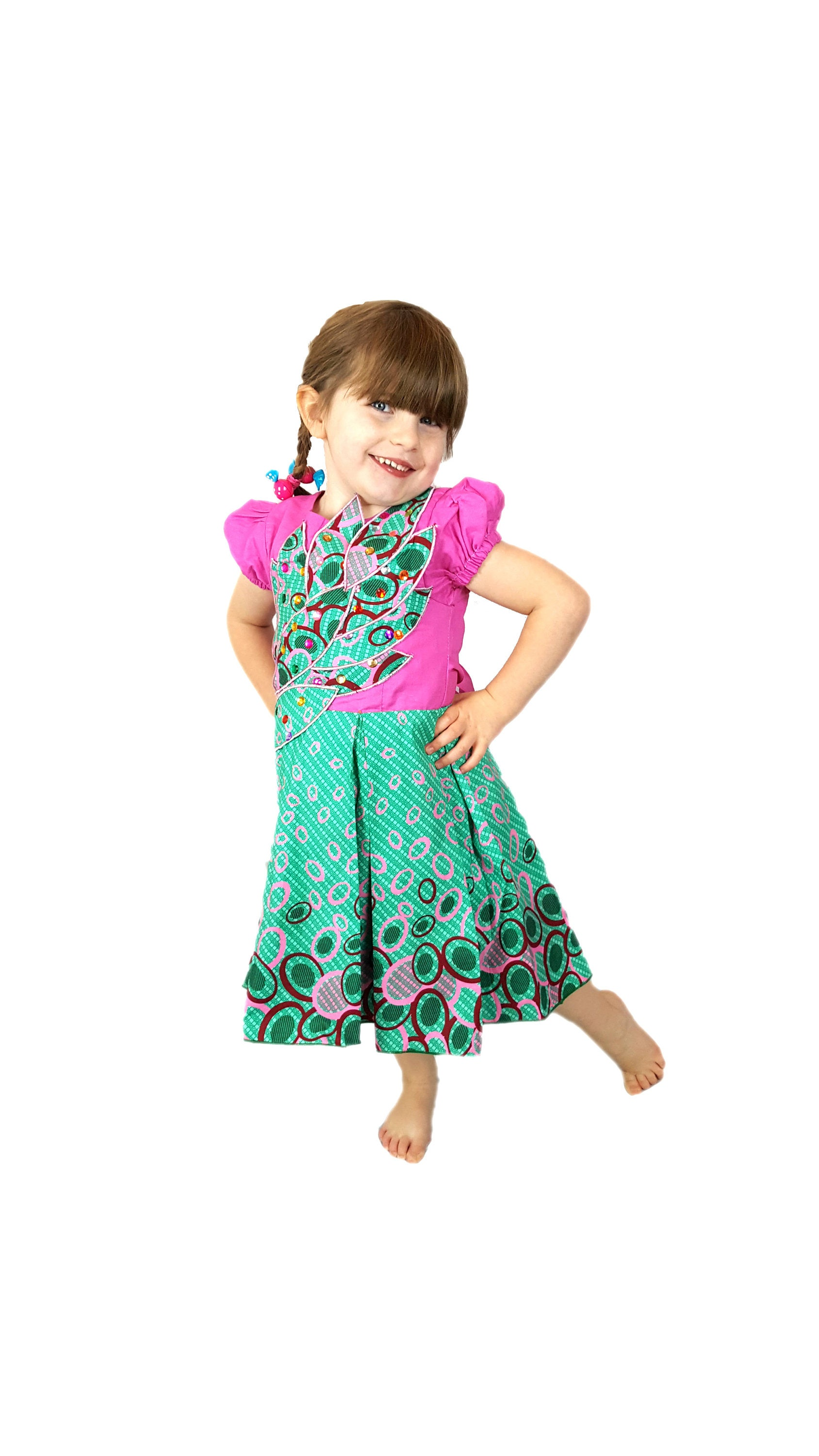 Beautiful Girls African Print Box Pleated Leafy Design Occasion ...