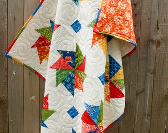 Kindred Pinwheels Quilt, Quilted Throw, Lap Quilt