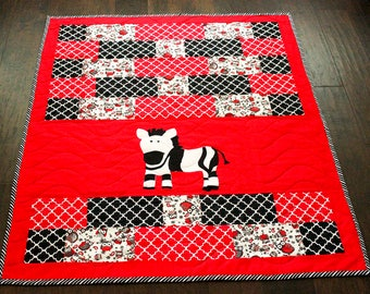 Zebra Quilt, Baby Quilt, Nursery Quilt, Black White and Red Quilt
