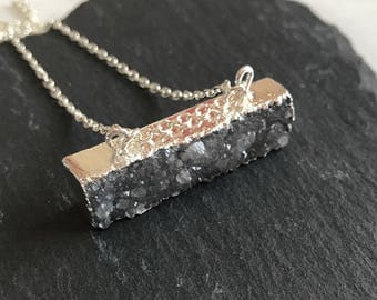 Grey Druzy Silver Necklace
