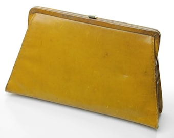 Vintage Olive Leather Convertible Trapezoid Clutch Frame Handbag