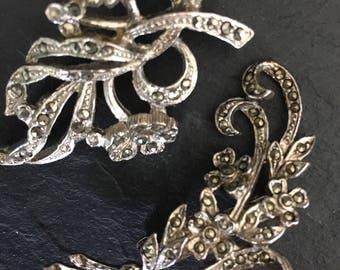 Vintage marcasite brooches. Vintage brooch. 1950's brooch. Marcasite brooch. Gift for her. Prom brooch