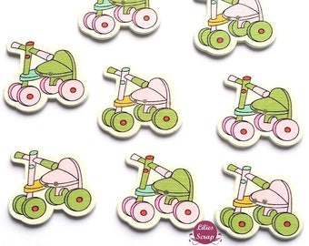 5 beautiful decorative buttons wooden bicycle girl 3 cm - 2 holes