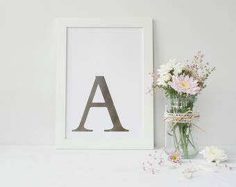 Framed Silver Foiled Wall Art   Initial Wall Art Print   Wall Decor   Home Decor   Silver Wall Decor   Nursery Print   FREE UK SHIPPING  