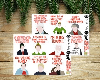 Assorted CHRISTMAS MOVIE Quotes Planner Stickers