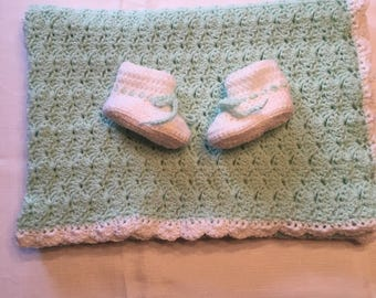 Handmade Baby Blanket and Booties